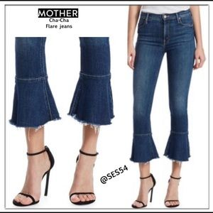 MOTHER Cha-Cha Fray clean sweep ruffle jeans